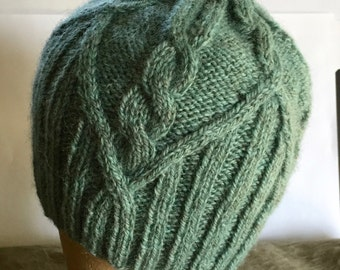 Cabled Blue Beanie