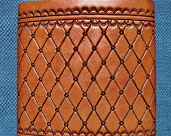 8 oz Hand Tooled Leather Whiskey Flask  Made in USA