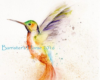 Hummingbird, fine art, Giclee Watercolour Painting Print A4. Archival quality inks