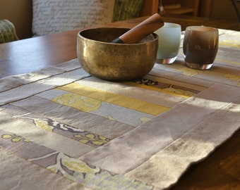 Hand Designed Table Runner, Yellow and Neutral