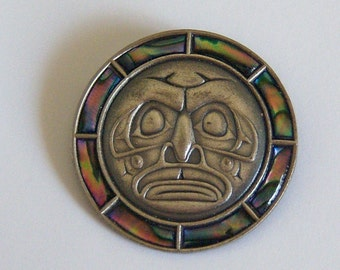 Signed Tribal Brooch.  Mask Brooch. Abalone Brooch. Face Jewelry.