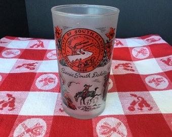 Souvenir glass, South Dakota, vintage