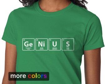 GENIUS Periodic Table Womens T-shirt, Big Bang Theory Chemistry Science Biology Tee