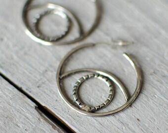 Creole silver solid, ethnic, gypsy, tribal, 3 cm