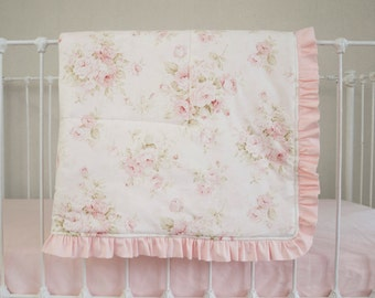 Vintage Shabby Chic Roses Floral Pink On Antique Cream Ivory Baby Blanket Made From Mary