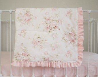 Mary Rose Vintage Shabby Chic Roses Floral Pink on Cream / Ivory Baby Blanket
