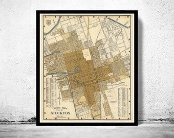 Old Map of Stockton California