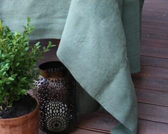 Moss Green Linen Tablecloth/ Natural Linen/Table Linens/ Dining Tablecloth/ Square Tablecloth