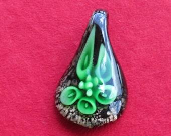 Retro Emerald Green Dark Purple Gold Colored Blown Glass Pendant