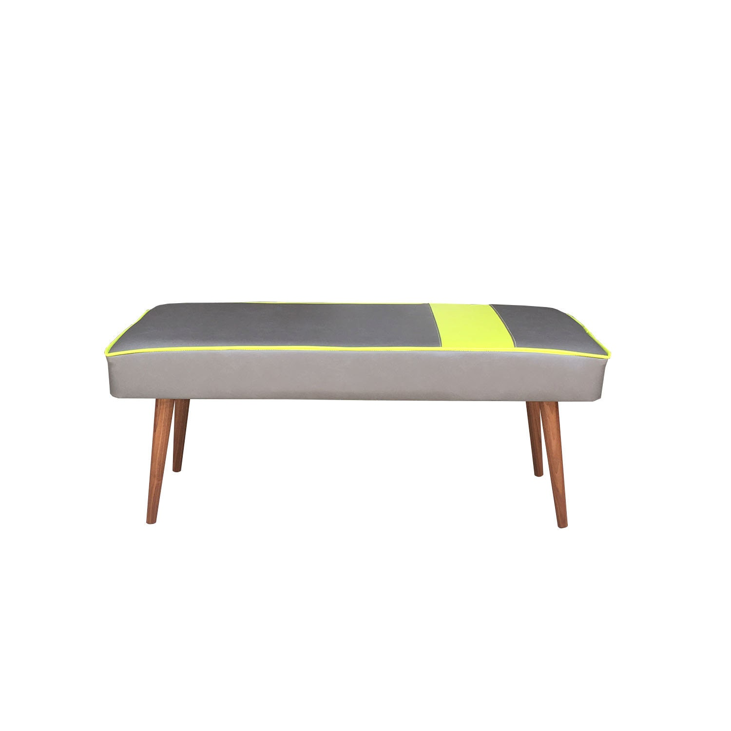 Mid Century Modern Bench Vinyl Footstool With Custom