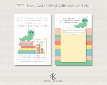 Bookworm Baby Shower Printable Invitations