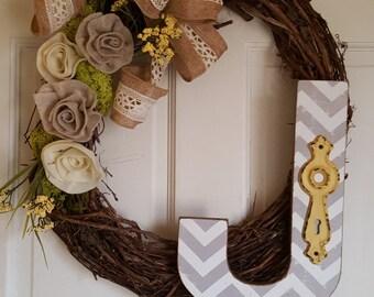 Monogram Grapevine Oval Wreath with felt flowers