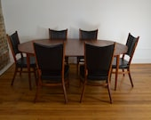 Rare Danish Modern Walnut Dining Set with Extension Table and Six Chairs in the Style of Risom or McCobb