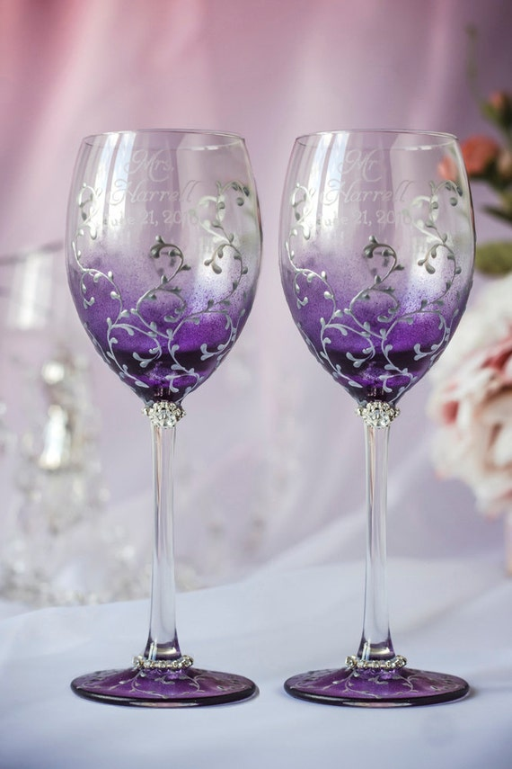 Plum Wedding Wine Glasses Personalized Toasting Glasses Wine