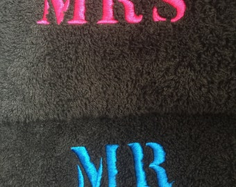 Mr & Mrs Embroidered Bath Towels