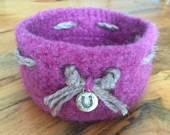 Mauve Felted Wool Bowl