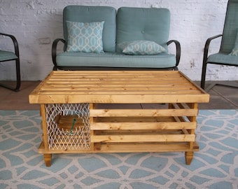 the big red wooden lobster trap coffee table..made