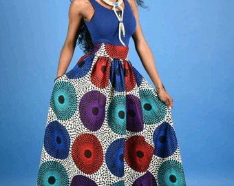 NEW Vera circle African Print Maxi skirt
