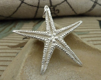 Starfish pendant (large) / necklace in sterling silver...