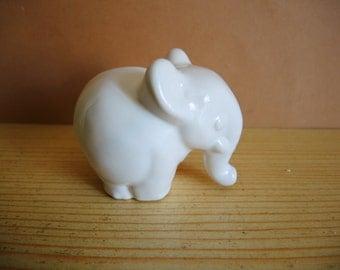 Vintage White Ceramic Elephant Figurine Etsy