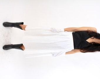 Vintage White Cotton Skirt / Skirt with Pockets / Maxi Skirt / Casual Skirt / High Waist / Simple Skirt / Size M Made in Finland