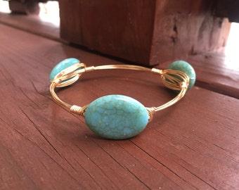 Turquoise Wire Bangle Bracelet