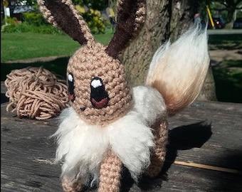 RTS Pocket Monster pokemon chraracter crochet amigurumi eve doll, keychain, purse pal, bag buddie, baby loviee. Evee Pokemongo Starter