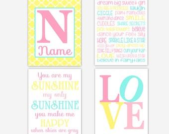 Baby Girl Nursery Wall Art Pink Yellow Aqua You Are My Sunshine Dream Big Little One Personalized Art Baby Girl Nursery Wall Decor Print Art