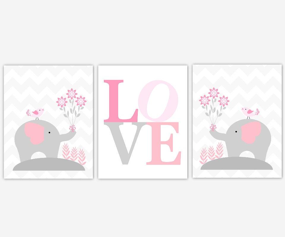 baby girl nursery wall art pink gray elephant elephants baby. Black Bedroom Furniture Sets. Home Design Ideas