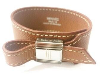 Authentic Hermes Artemis Brown Wide Leather Bracelet