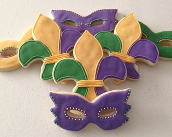 Mardi Gras Themed Sugar Cookies