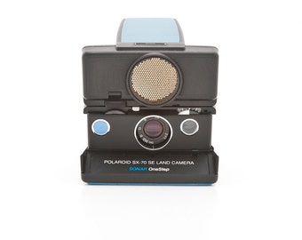 Polaroid SX-70 SE Land Camera Sonar OneStep - reskinned with blue leather - film Tested - Guaranteed Working