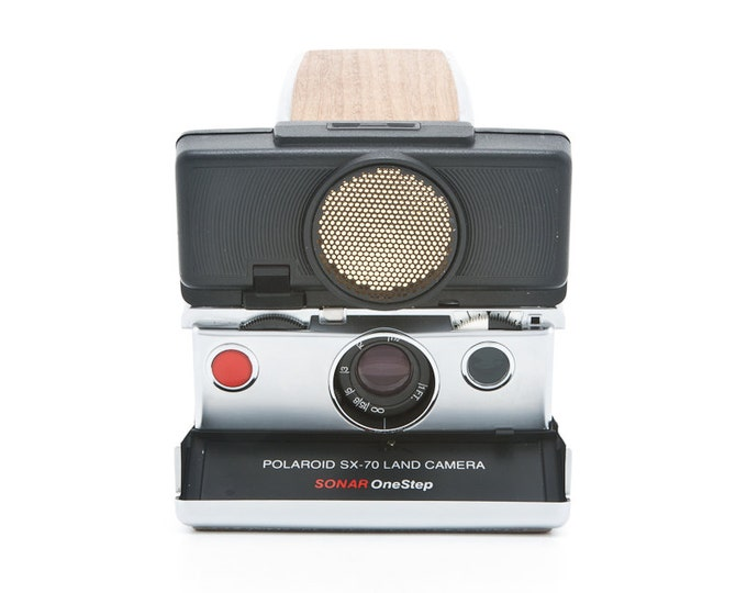 Featured listing image: Polaroid SX-70 Land Camera Sonar OneStep with new wood grain covering - Film Tested - Working - one step SX70