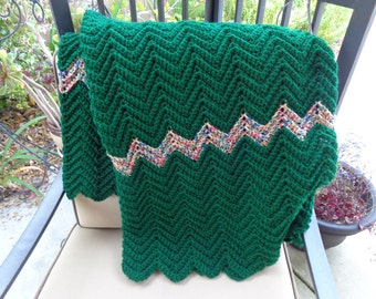 Hand crochet afghan in hunter green-READY TO SHIP