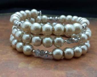 8mm Light Beige Glass Pearls and 4mm Silver and Clear Glass Crystals Memory Wire Bracelet.