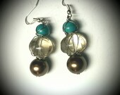 """Sweet Nothings- """"The Carpenter"""" Handmade wire wrapped drop dangle earrings. Turquoise, clear glass, and chocolate glass pearl"""