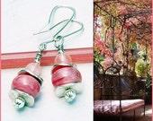 Pink pearls Lampwork earrings with Cherry Quartz, Elegant Pink glass earrings, Pink Romantic earrings, Dainty Pink earrings, Wedding jewelry
