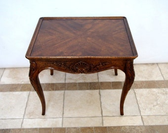 Henredon Villandry Carved End Side Table or Nightstand Walnut with top lip