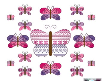 Butterfly sampler (36) cross stitch pattern - pink and purple small black work pdf instant download printable