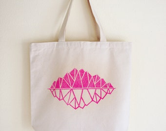 SALE • Fair trade, eco-friendly canvas tote bag •  magenta • block printed mountains