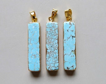 Rectangle Turquoise Pendant With Double bail - B1480