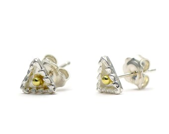 Silver Triangle Studs - Dainty Earrings - Mixed Metal Geometric Studs - Tiny Minimalist Earrings - Handmade Jewellery
