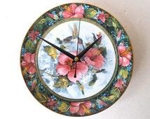 Dinner Plate Clock - Recycled Bone China Plate - Imperial Hummingbird - Pink Flowers Clock - Birds Clock - English China Vintage Plate Clock