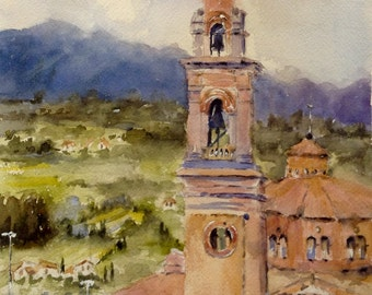 Italy painting watercolor original ART PRINT Church in Castiglion Fiorentino