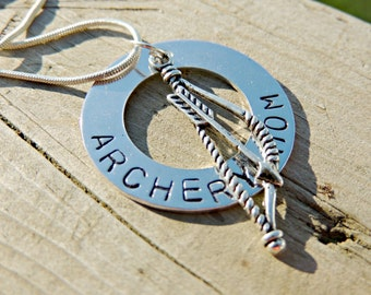 Archery Mom necklace, personalized gifts for archer or bowman, bow and arrow jewelry, high school archery team, gifts for hunters, hunting