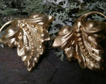 Raw Brass Stamping Large Grapevine Leaves Pair