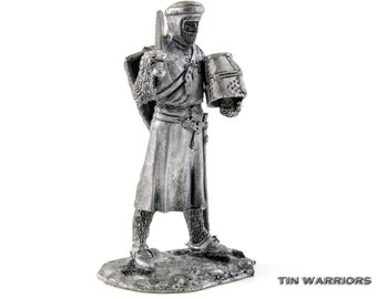 Toy soldier Crusaders. Knight of the Teutonic Order. 14th Century metal miniature sculpture. Collection 54mm 1:32 miniature figurine