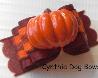 Dog Bow- 5/8 or 7/8 Thanksgiving/Fall/Autumn Pumpkin in Burgundy with Orange/Burgundy and Plaid