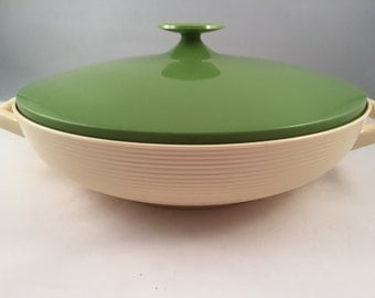 Large Raffiaware Bowl with Lid by Thermo-Temp, Made in USA Mallory Randall Corp.
