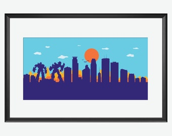 Minneapolis skyline print, Transformers inspired print, Transformers poster, Minneapolis Minnesota, Minneapolis art, Minneapolis poster gift